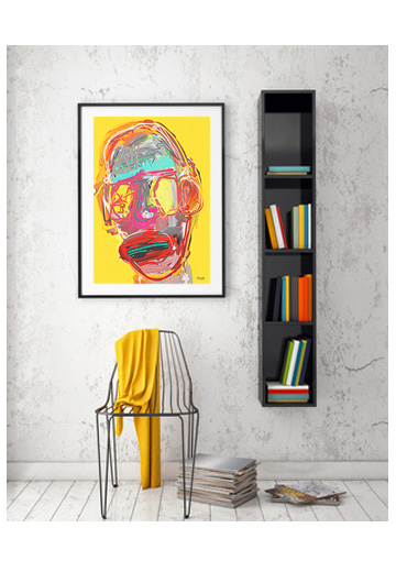 art print, abstract portrait art print, yellow and red art print, contemporary art prints, digital painting, Sam Freek, buy art prints, art print gallery,