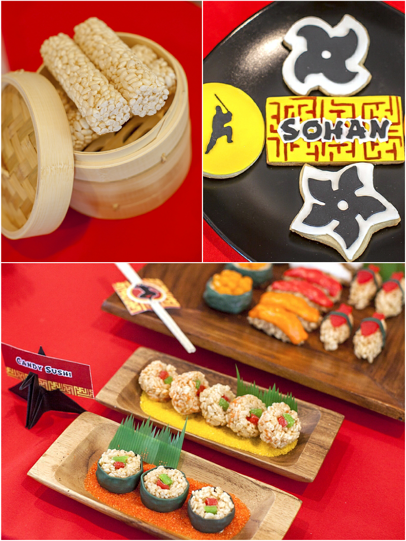 Ninja Japanese Birthday Party Food, Desserts and Candy Station - via BirdsParty.com