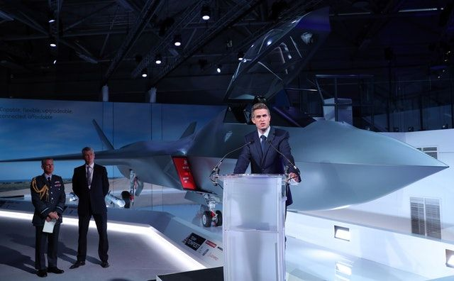 Image Attribute: Gavin Williamson, the U.K's Defence Secretary, speaking at the unveiling of the new Tempest fighter at the Farnborough Airshow 2018.