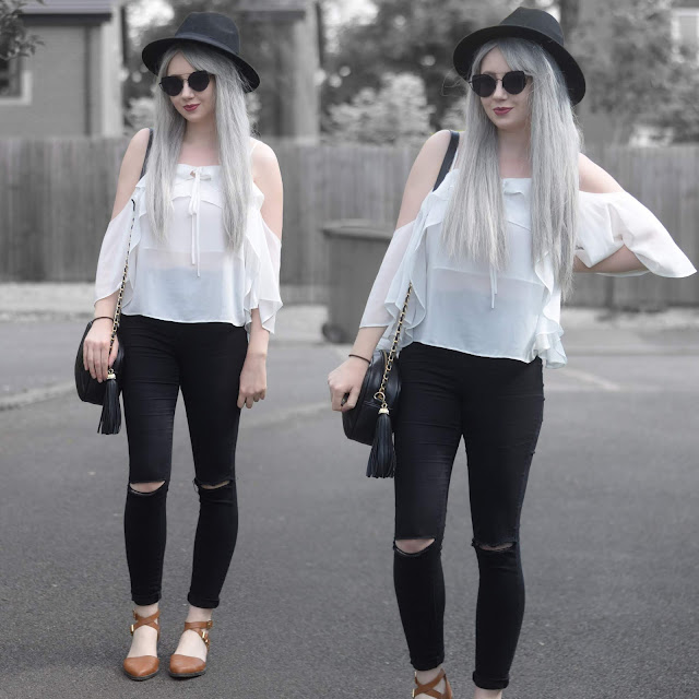 Sammi Jackson - Primark Black Fedora / Zaful Sunglasses / 10 Store Blouse / Everything5pounds Tassel Bag / Primark Ripped Jeans / Primark Crossover Sandals
