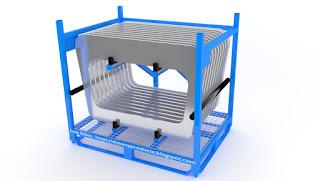 Renderización Rack para el transporte de piezas. Lleno de piezas.