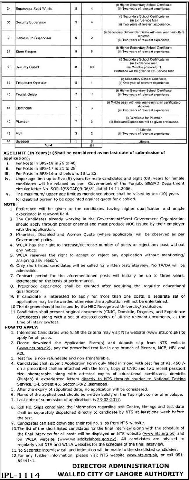 Walled City Authority 137+Jobs Of Lahore 6th February 2017