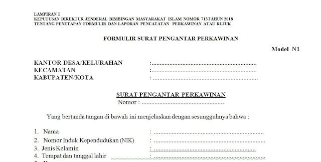 Download surat pengantar nikah format word lengkap n1-n7