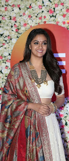Keerthy Suresh in White Dress with Cute and Lovely Smile at ZEE Telugu Cinema Awards 1