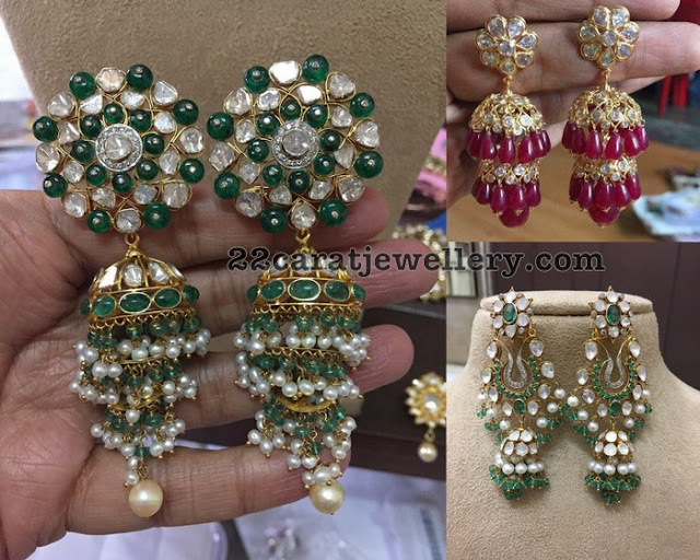 Pearls Ruby Emerald Drops Jhumkas
