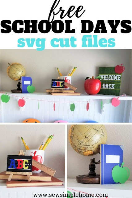 Create your own school days mantel or tired tray with this free back to school svg cut files.
