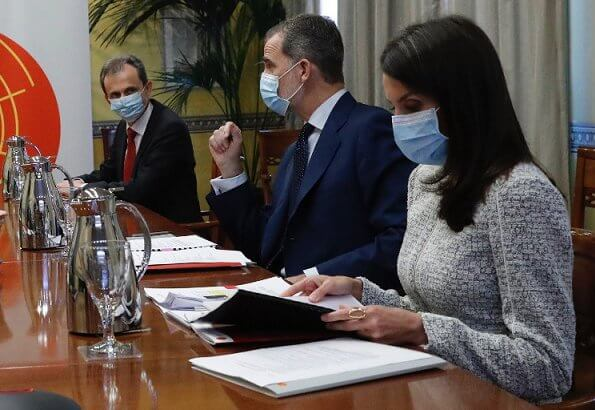 Queen Letizia wore a new grey teed jacket by Hugo Boss