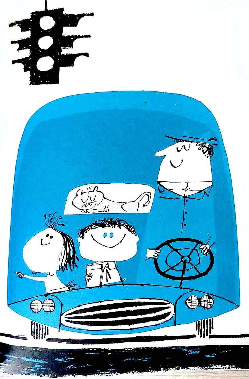 an Abner Graboff children's book illustration of dad driving kids in a car