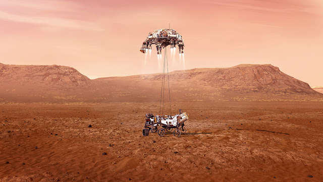 Ilustração artística do pouso da Perseverance em Marte