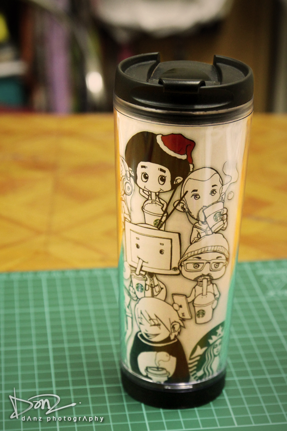 danz arts  we love starbucks tumbler insert design