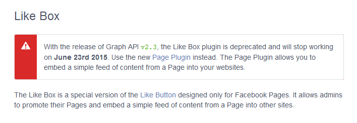 Like Box plugin is deprecated