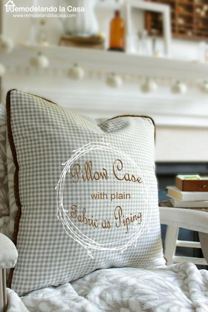 gingham pillow case - fall mantel