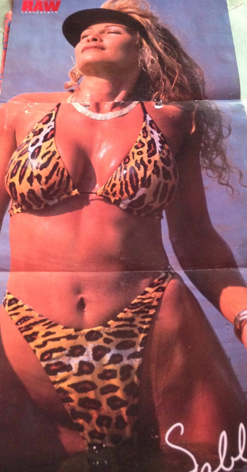 WWE: WWF RAW MAGAZINE - January 1998 - Sable in a tigerprint swimsuit