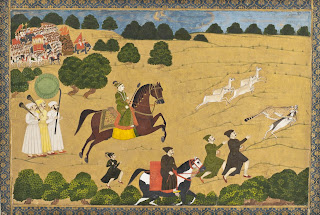 Prince Hunting with Cheetah.India, West Bengal, 1764 or earlier. Opaque watercolor on gold paper. Los Angeles County Museum of Art. Public domain.