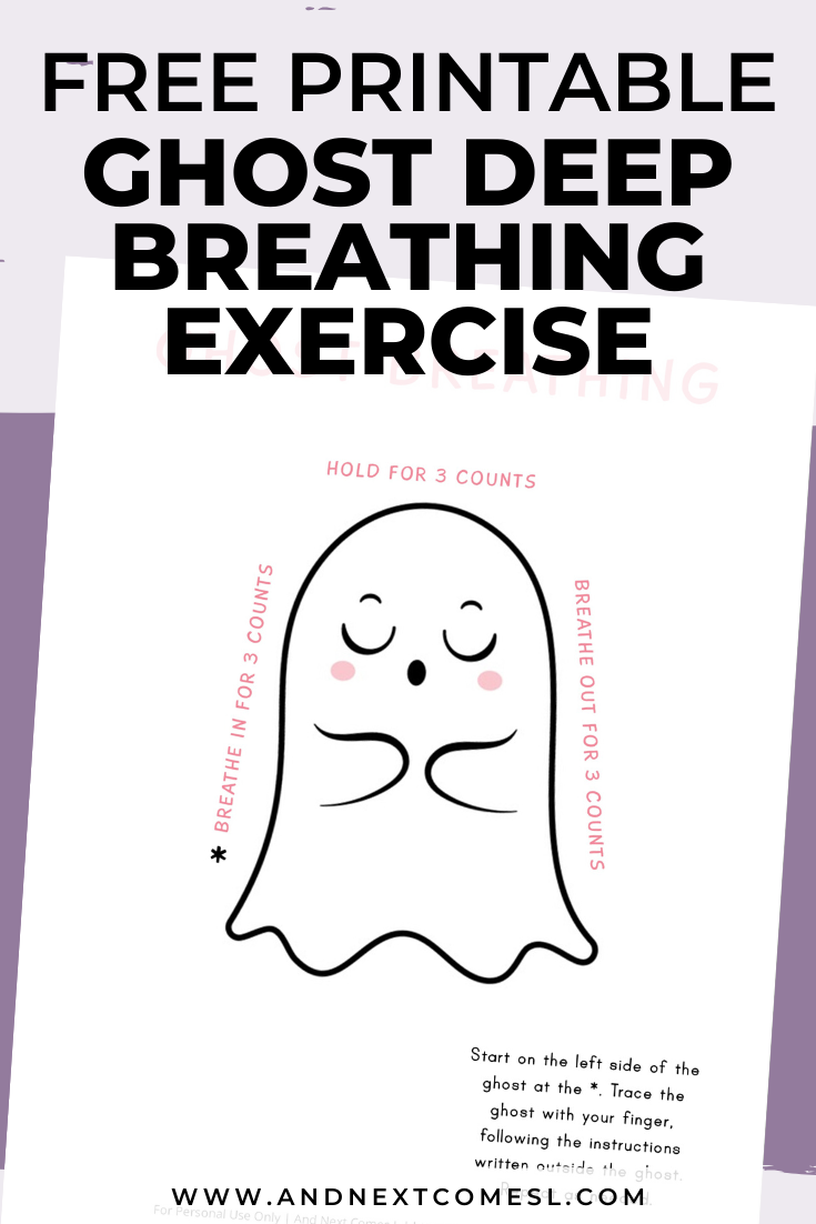 Halloween themed ghost deep breathing exercise for kids with free printable mindfulness poster