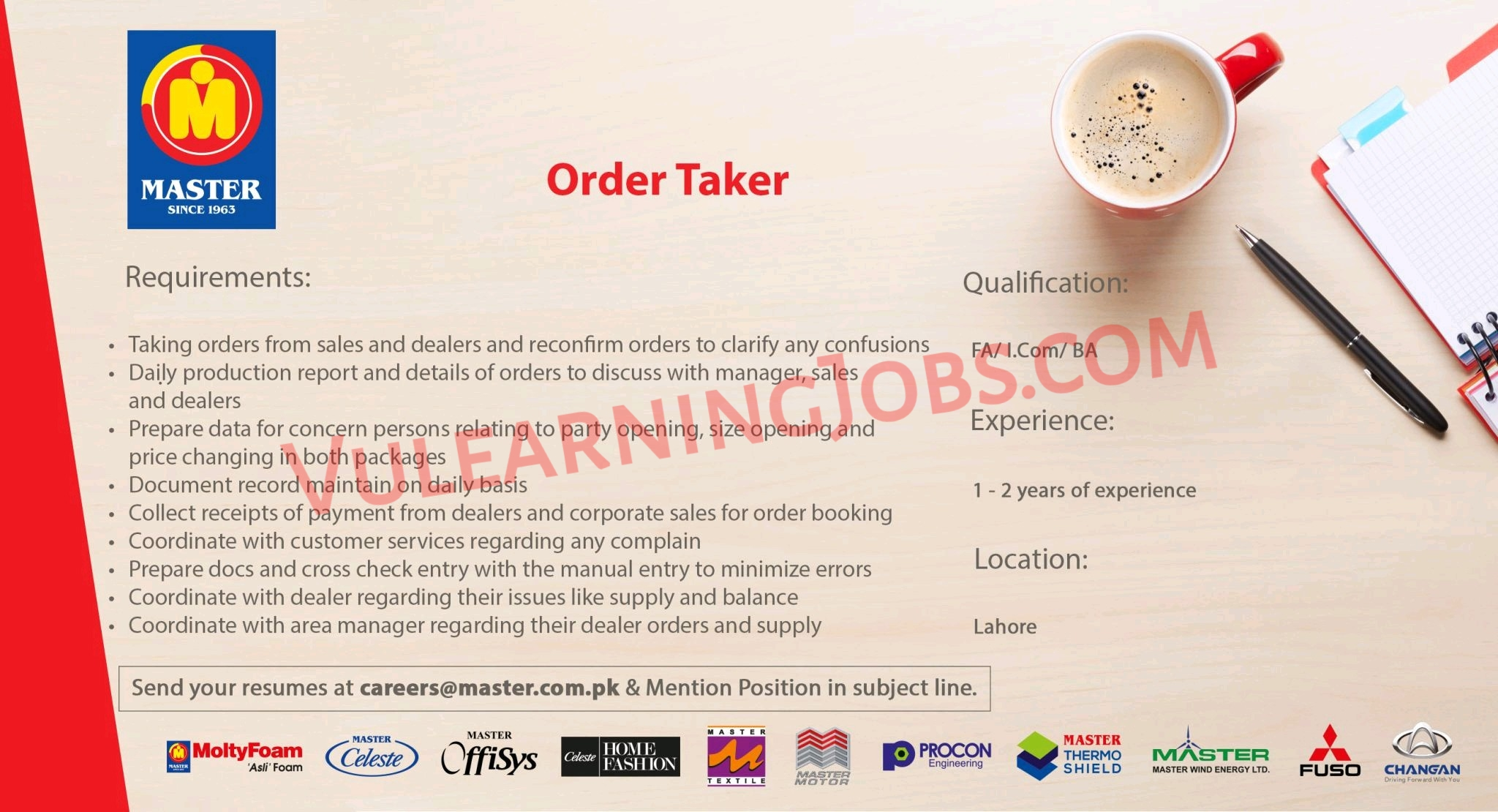 Master Group of Industries Jobs September 2021 For Deputy Manager, Order Taker, Control Room Operator & Other Latest