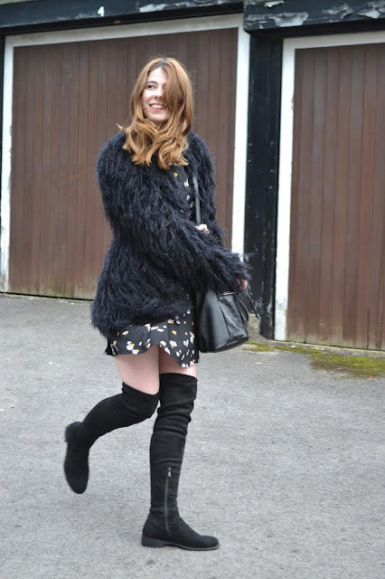Black floral dress from primark with Thigh high black suede boots from public desire with Vintage black faux fur coat. Affordable blogger fashion blog.