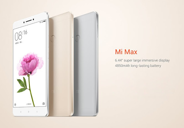 Xiaomi Mi Max Specifications - LAUNCH Announced 2016, May DISPLAY Type IPS LCD capacitive touchscreen, 16M colors Size 6.44 inches (~74.8% screen-to-body ratio) Resolution 1080 x 1920 pixels (~342 ppi pixel density) Multitouch Yes Protection Corning Gorilla Glass 4  - MIUI v7 or v8.2 BODY Dimensions 173.1 x 88.3 x 7.5 mm (6.81 x 3.48 x 0.30 in) Weight 203g (7.16 oz) SIM Dual SIM (Nano-SIM/ Micro-SIM, dual stand-by) PLATFORM OS Android OS, v6.0 (Marshmallow) CPU Hexa-core (4x1.4 GHz Cortex-A53 & 2x1.8 GHz Cortex-A72) Octa-core (4x1.8 GHz Cortex-A72 & 4x1.4 GHz Cortex-A53) Chipset Qualcomm MSM8956 Snapdragon 650 Qualcomm MSM8976 Snapdragon 652 - Prime model GPU Adreno 510 MEMORY Card slot microSD, up to 256 GB (uses SIM 1 slot) Internal 32/64 GB, 3 GB RAM 128 GB, 4 GB RAM - Prime model CAMERA Primary 16 MP, f/2.0, phase detection autofocus, dual-LED (dual tone) flash Secondary 5 MP, f/2.0 Features Geo-tagging, touch focus, face detection, panorama, HDR Video 2160p@30fps, 1080p@30fps, 720p@120fps NETWORK Technology GSM / CDMA / HSPA / EVDO / LTE 2G bands GSM 850 / 900 / 1800 / 1900 - SIM 1 & SIM 2  CDMA 800 / 1900 3G bands HSDPA 850 / 900 / 1900 / 2100  CDMA2000 1xEV-DO  TD-SCDMA 4G bands LTE band 1(2100), 3(1800), 7(2600), 38(2600), 39(1900), 40(2300), 41(2500) Speed HSPA, LTE GPRS Yes EDGE Yes COMMS WLAN Wi-Fi 802.11 a/b/g/n/ac, dual-band, Wi-Fi Direct, DLNA, hotspot GPS Yes, with A-GPS, GLONASS, BDS USB microUSB v2.0, USB Host Radio FM radio, recording Bluetooth v4.2, A2DP, LE Infrared Port Yes FEATURES Sensors Fingerprint (rear-mounted), accelerometer, gyro, proximity, compass Messaging SMS(threaded view), MMS, Email, Push Mail, IM Browser HTML5 Java No SOUND Alert types Vibration; MP3, WAV ringtones Loudspeaker Yes 3.5mm jack Yes  - Active noise cancellation with dedicated mic BATTERY  Non-removable Li-Ion 4850 mAh battery Stand-by  Talk time  Music play  MISC Colors Gray, Silver, Gold SAR US 0.84 W/kg (head)     0.63 W/kg (body)      - MP4/DivX/XviD/WMV/H.265 player - MP3/WAV/eAAC+/FLAC player - Photo/video editor - Document viewer