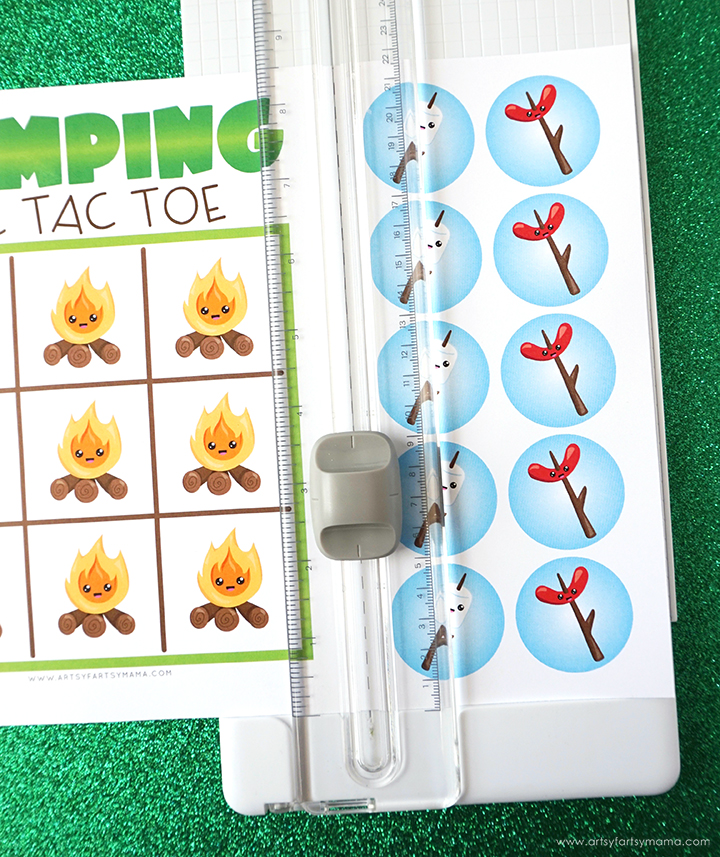 Camping Tic Tac Toe with Paper Trimmer