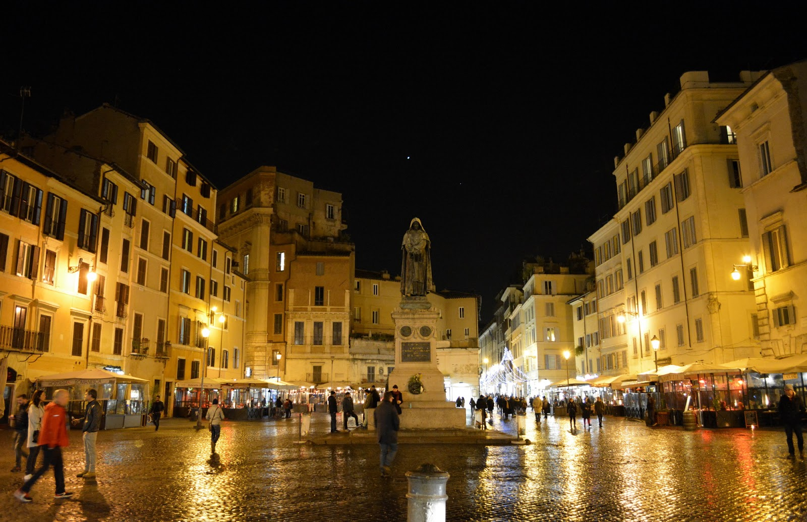 cozy birdhouse | campo de fiori in rome at night
