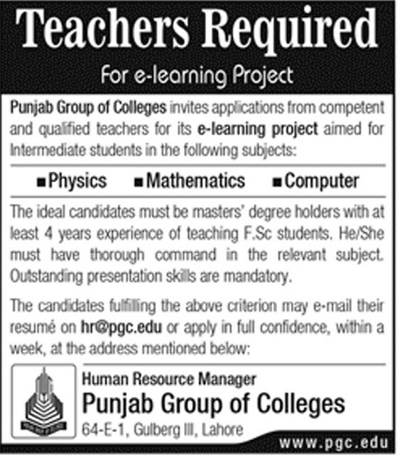 Jobs in Punjab Group of Colleges Jobs in Lahore 2018
