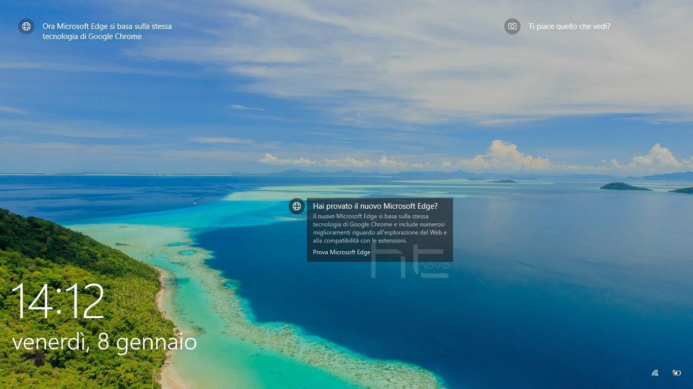 Adesso Microsoft pubblicizza Edge nella Schermata di blocco di Windows 10