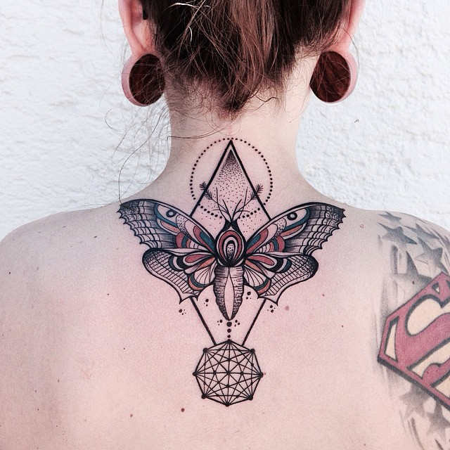 Butterfly Neck Tattoo: Butterfly And Pyramid Back-neck Tattoo