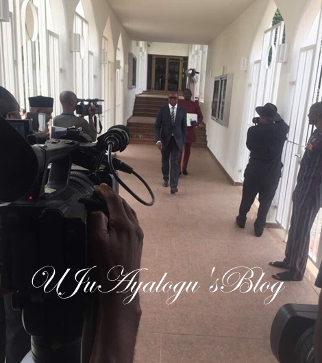 Photos: Ibe Kachikwu Arrives Aso Villa to Meet President Buhari Over His 'Explosive' Leaked Memo
