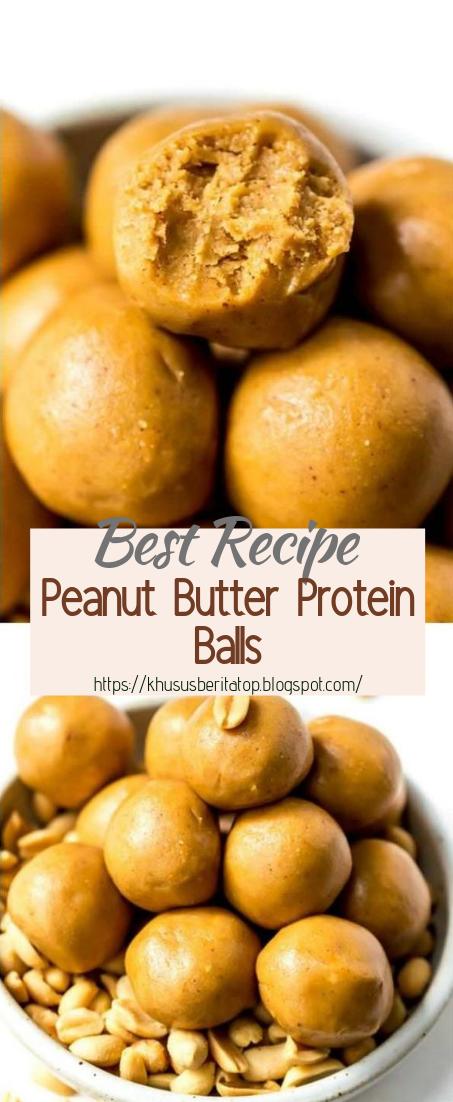 Peanut Butter Protein Balls #healthyfood #dietketo #breakfast #food