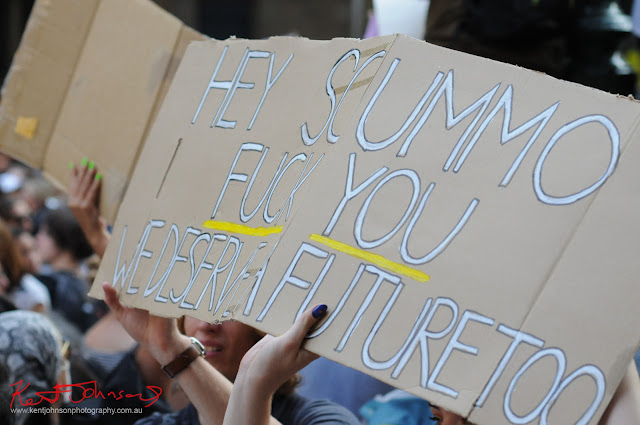 Sydney Climate Rally - Hey Scomo Fk You We Deserve a Future'