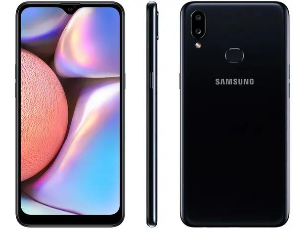 "Smartphone Samsung Galaxy A10s 32GB Preto - 4G 2GB RAM 6,2"" Câm. Dupla + Selfie 8MP"