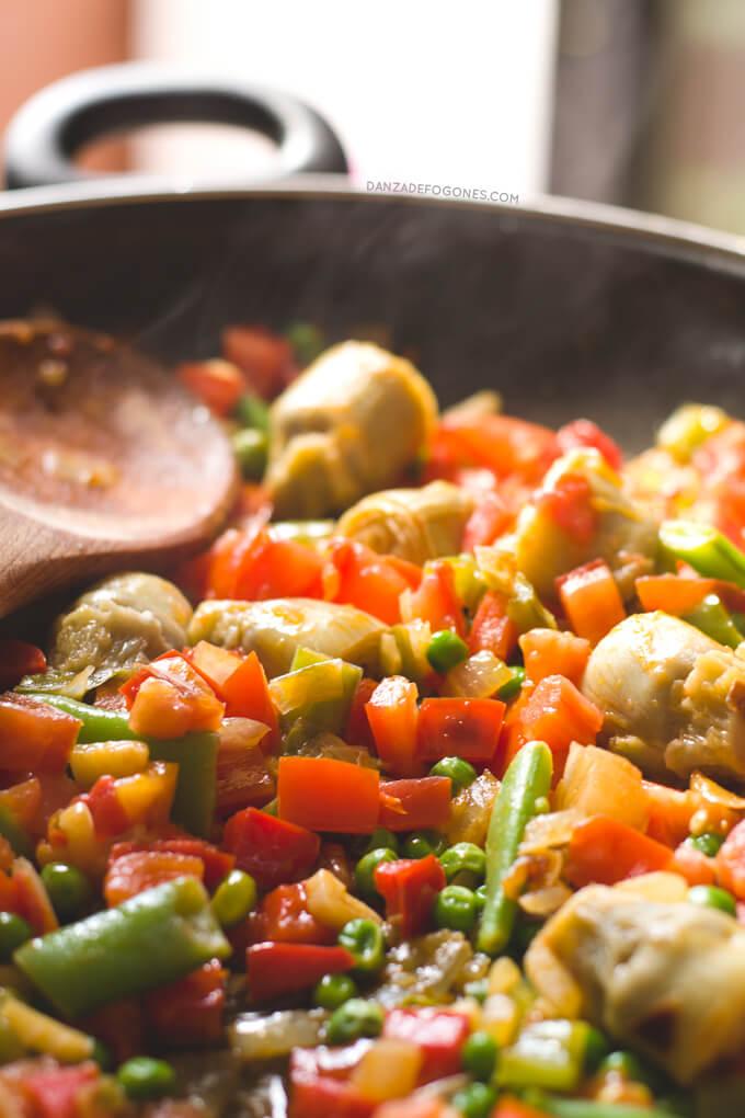 Vegan paella ingredients
