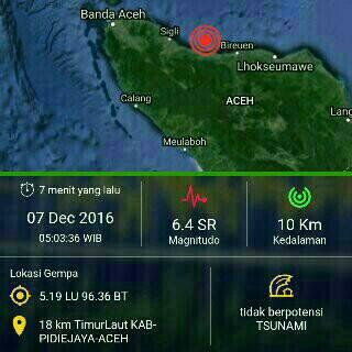 Kekuatan dan lokasi episentrum gempa Aceh