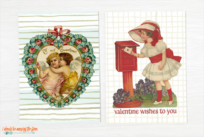 Printable Vintage Valentine Cards