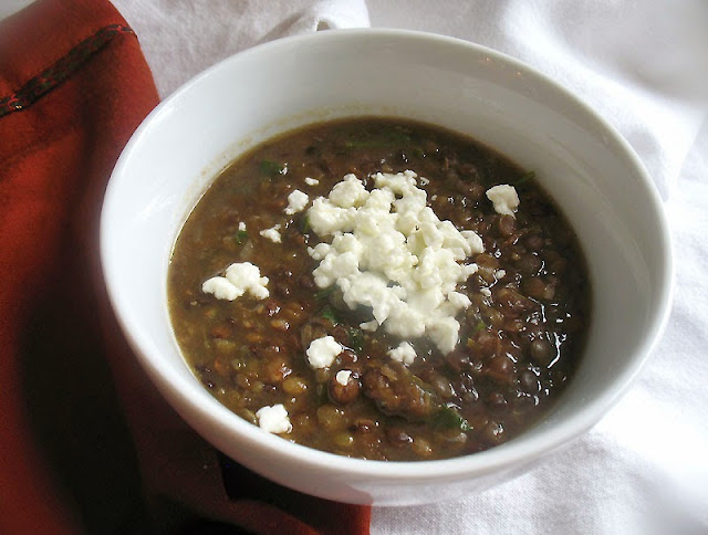 lentil soup with goat cheese