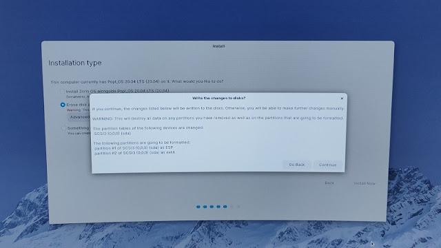 Dialog Continue Install OS Single boot