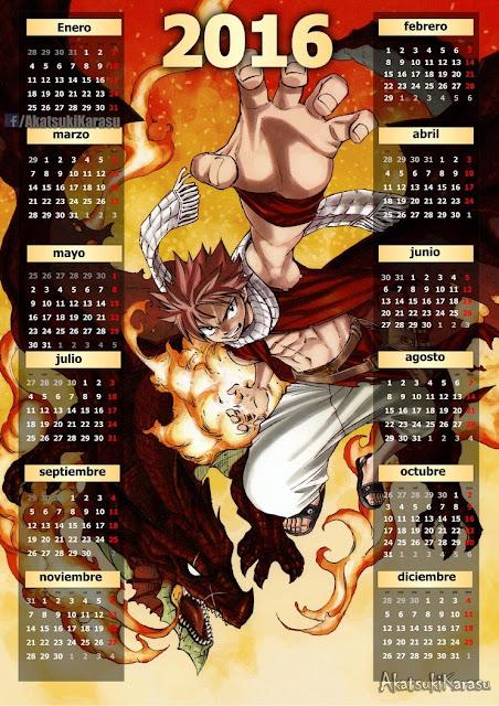 calendario 2016 fairy tail