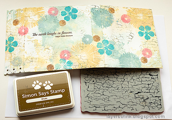 Layers of ink - Floral Folio Tutorial by Anna-Karin Evaldsson. Stamp with Simon Says Stamp Crackle Background.