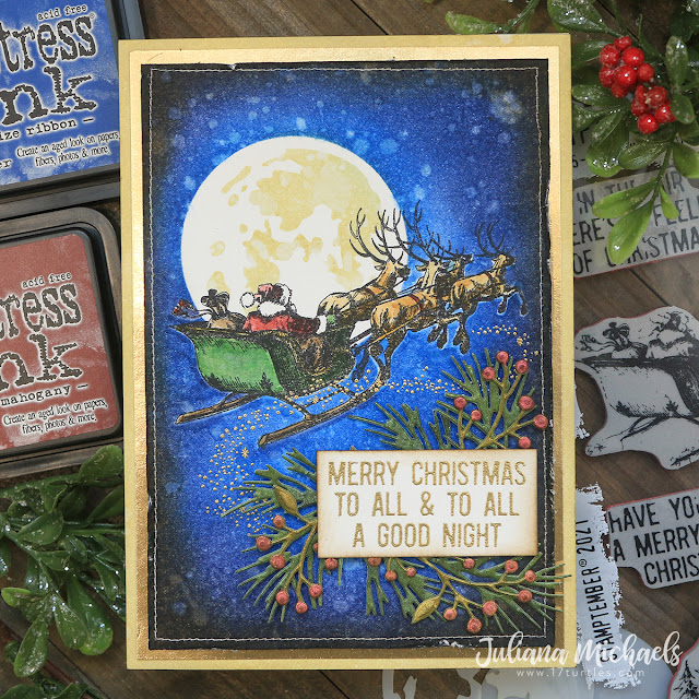 Merry Christmas Card by Juliana Michaels featuring Tim Holtz STAMPtember® 2021