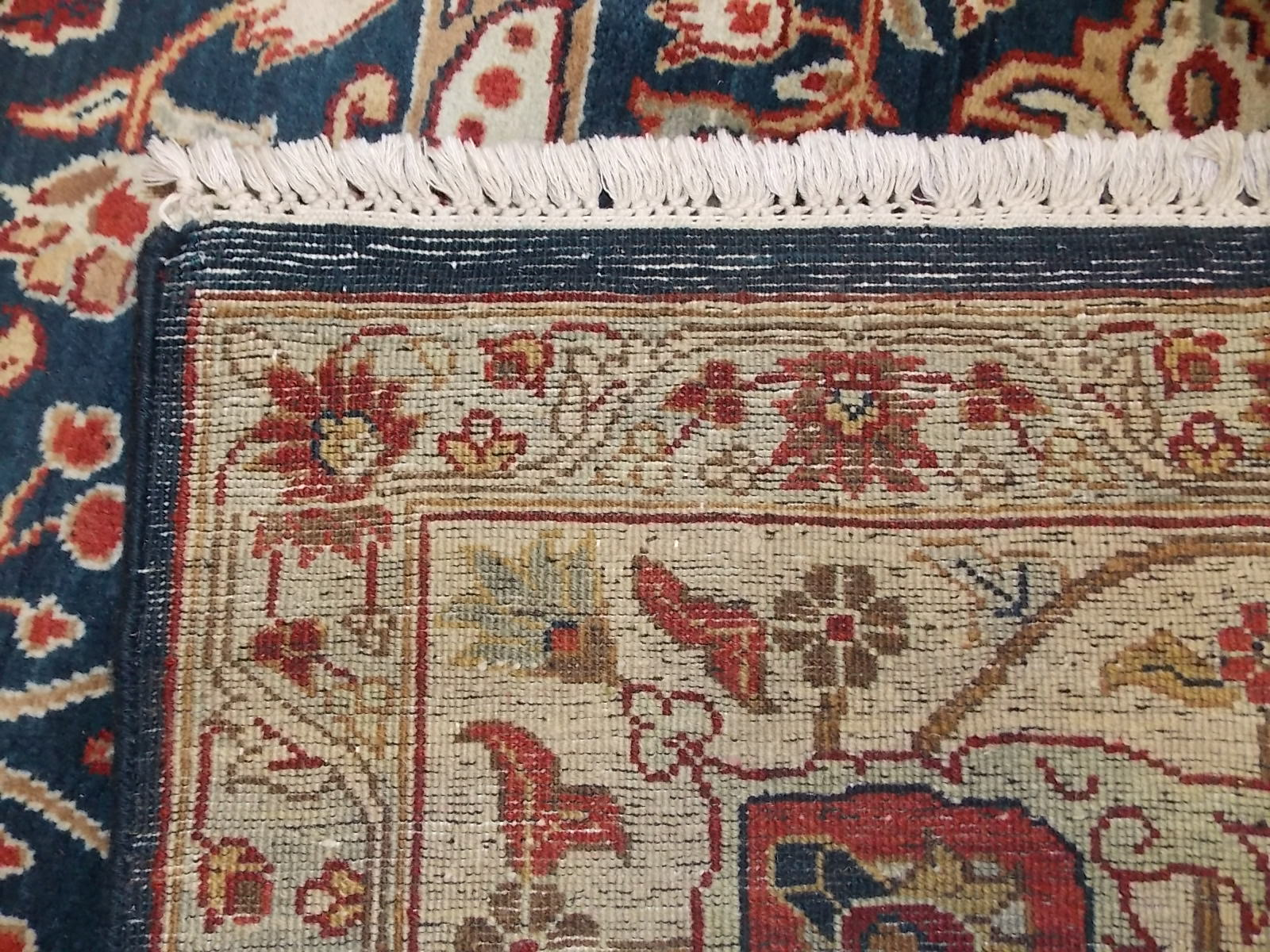Back Of A Hand Knotted Rug Note The Fringe Is Part