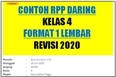 Download RPP Daring Guru Kelas Kelas 4 SD