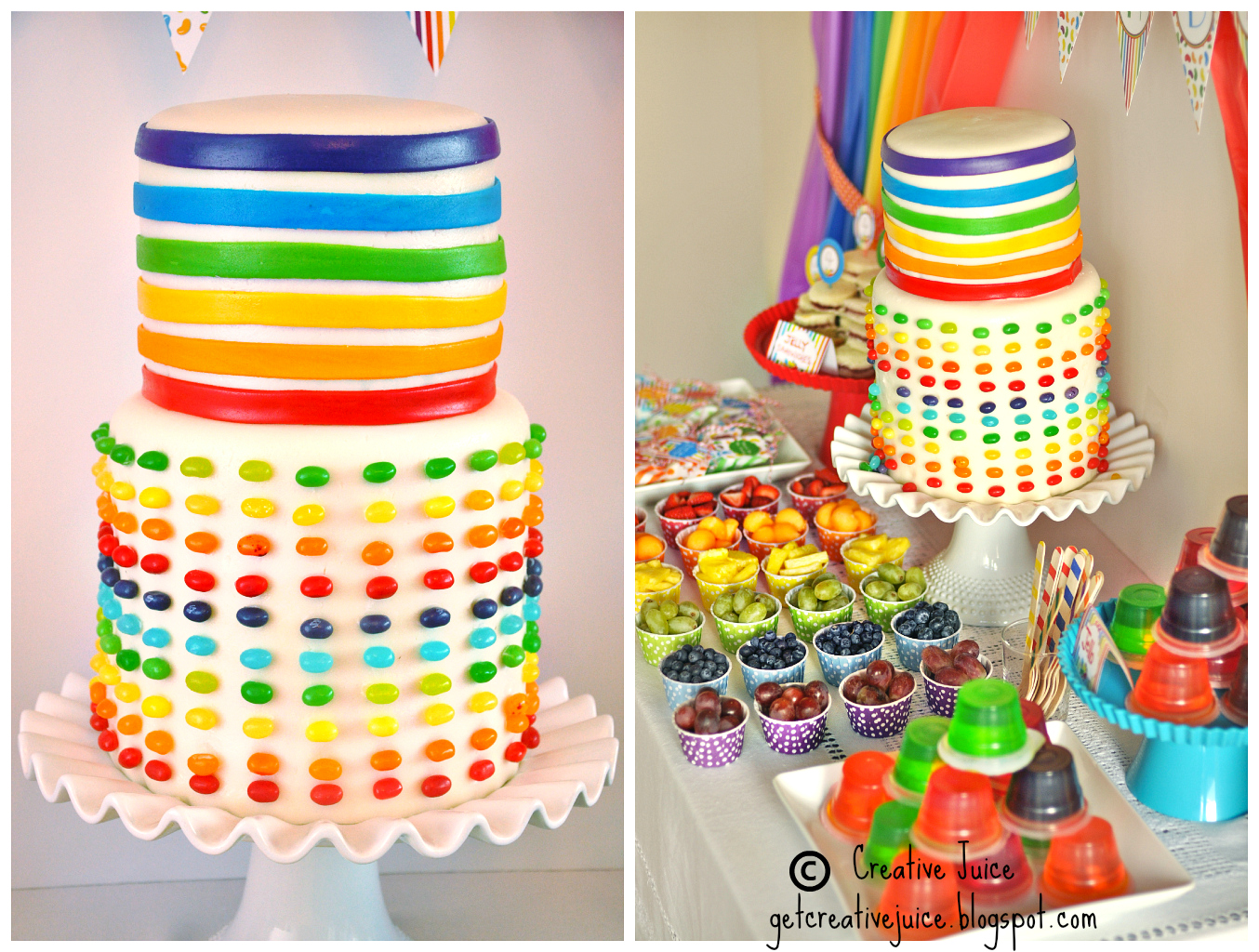 Jelly Bean Birthday Party Ideas and Candy Bar Desserts table -  via BirdsParty.com