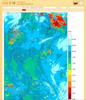 Przykładowa mapa szczegółowa modelu UM - widzialność w km. Prognoza została udostępniona nieodpłatnie przez serwis meteo.pl prowadzony przez ICM, Uniwersytet Warszawski. Wyniki uzyskano przy użyciu oprogramowania Met Office. Material produced using Met Office Software.