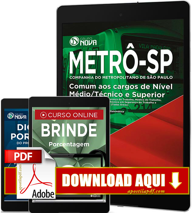 Apostila METRÔ SP 2016 PDF Download Nível Médio Técnico Superior