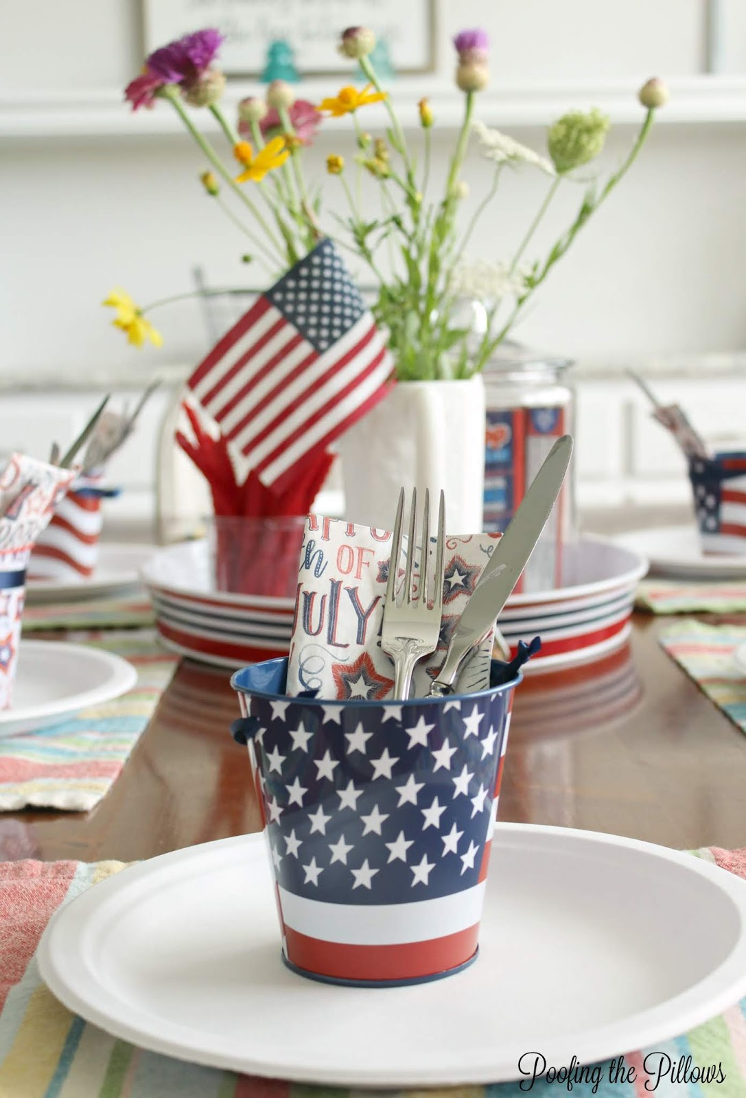 patriotic tablescape using things from around the house, flowers from the yard, and Dollar Tree items, also sharing Crunchy Cookie recipe