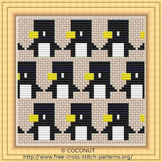 free penguin cross stitch pattern