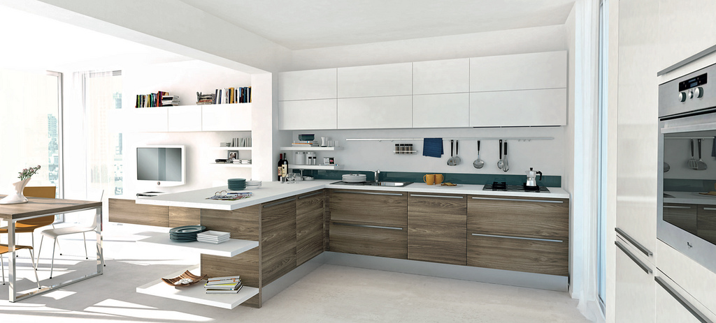 kitchen with the dominance of wood modern open kitchen design with a little touch of color