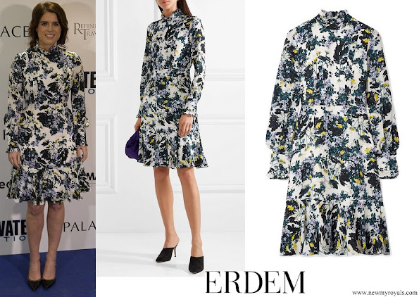Princess Eugenie wore Erdem Bernette button-detailed floral-print silk crepe de chine dress