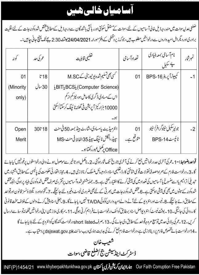 District & Session Judge Office Jobs 2021 in Swat KPK