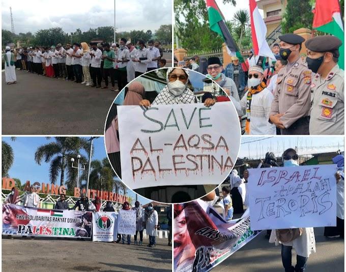Polres Dompu Beri Dukungan Moril Hingga Kawal Shalat Ghaib Saat Aksi Soliditas Untuk Palestina